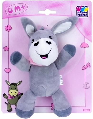 Baby pluche Ezel 20cm, grijs/roze