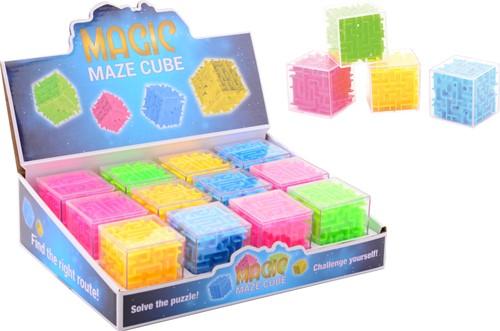 Hersenkraker Doolhof kubus in display 4 assorti 5x5cm