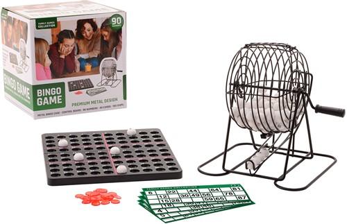 Metalen bingo spel met 90 nummers en 40 kaarten 21x21cm