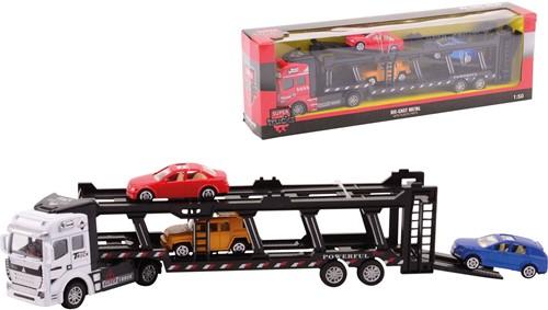 Super Cars Die-Cast Autotransporter + 3 auto's 2 assorti