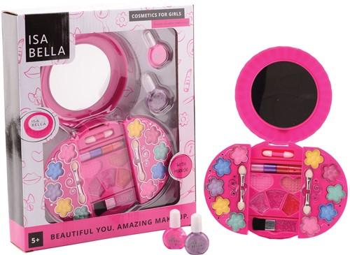 Isabella make-up set in ronde doos met spiegel 24x29cm