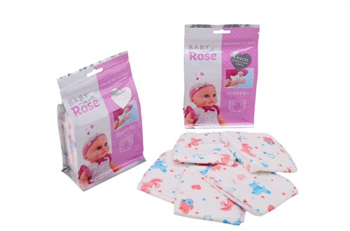 Baby Rose 5 luiers in zak 13x5x20cm