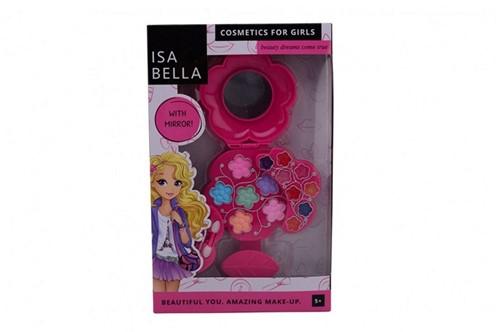 Isabella make-up set in bloemendoos met spiegel 18x29cm