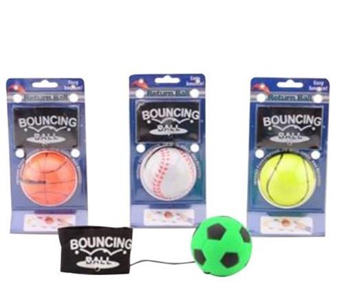 Gooi en vangbal met polsband 4 assorti 9,5x4x18,5cm