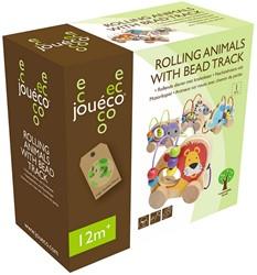 Jouéco® - Rollende dieren metkralenbaan 4 assorti