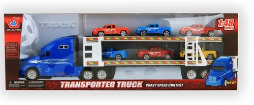 Vrachtauto transporter + 6 auto's  3 assorti 39cm