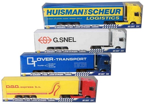 Vrachtwagen + oplegger Die-cast 1:64 4 assorti