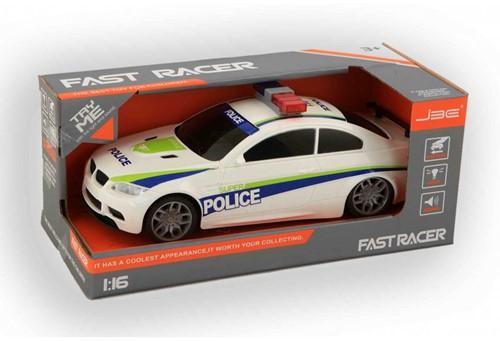 Politiewagen Fast Racer 1:16 met licht en geluid 12x28cm