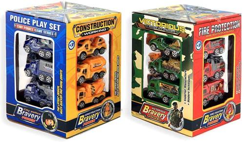 Auto's 8cm 12 delige set bouw/politie/leger/brandweer