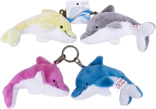 Nici Pluche Sleutelhanger dolfijn 4 assorti 10cm