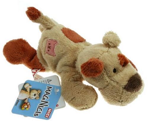 Nici Pluche Hond liggend Bruin (Magnetische pootjes) 12cm