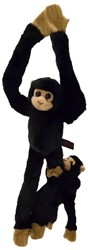 Pluche chimpansee met baby hangend 44cm