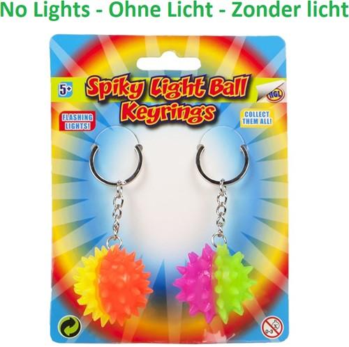 Sleutelhanger Spiky Ball 2 stuks op kaart (ZONDER LICHT)