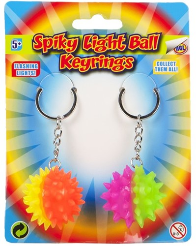 Sleutelhanger Spiky Light Ball 2 stuks op kaart