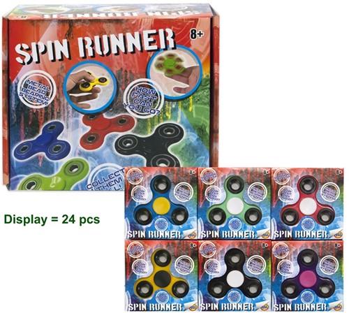 Handspinner Spin Runner in doosje assorti 7,5cm