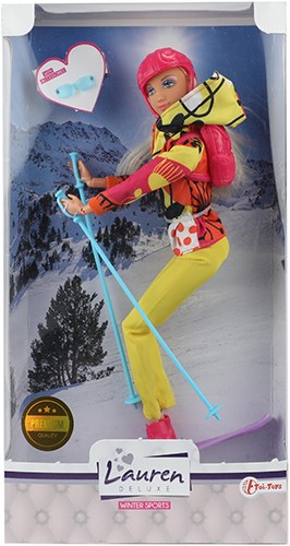 LAUREN Tienerpop 29cm op ski's incl. accessoires