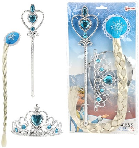 ICE PRINCESS Set met vlecht, tiara en staf prinses