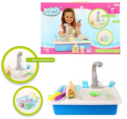 BRIGHT&CLEAN Set keuken spoelbak + kraan + accessoires 28x41cm