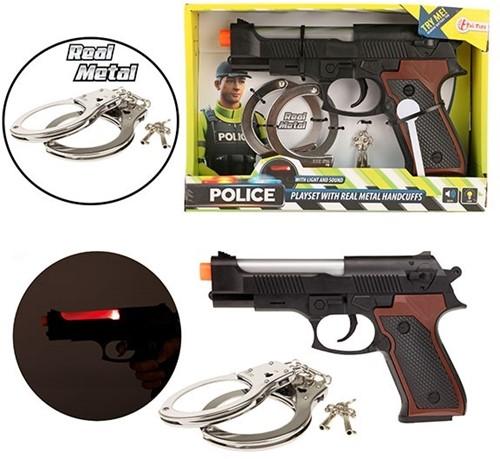 POLICE Politie pistool + metalen handboeien Licht en Geluid 18x26cm