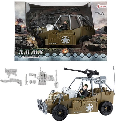 ARMY Voertuig militair met speelfiguur 18x27,5cm