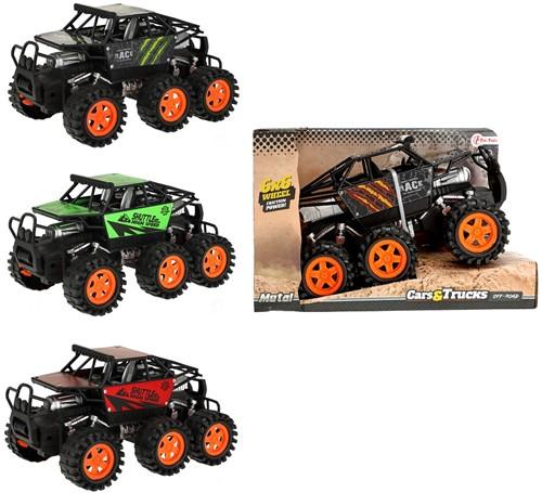 Monstertruck met 6 wielen met frictie 4 assorti