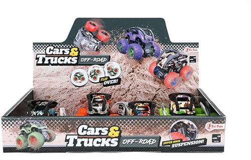 CARS&TRUCKS Monster truck 'Tires' frictie 4 assorti in display (8)