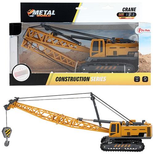METAL Die-Cast Bouwvoertuig kraanwagen met rupsbanden 1:55