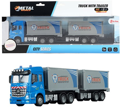 METAL Die-Cast Vrachtwagen EuroCombi aanhanger 1:43 pull back 30cm