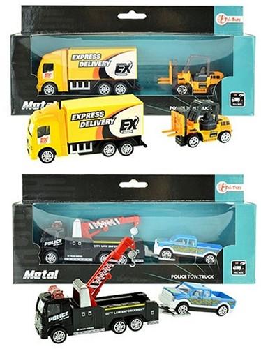 Vrachtwagen Metal met auto/heftruck 2 assorti 11x24cm