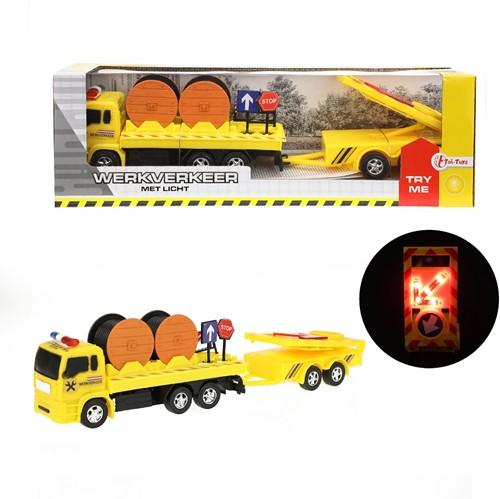 Constructiewagen met licht NL 10x32cm