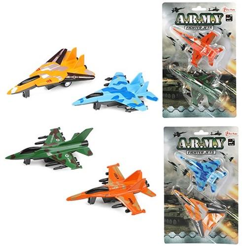 ARMY Set straaljagers pull back 2 stuks 2 assorti 10cm