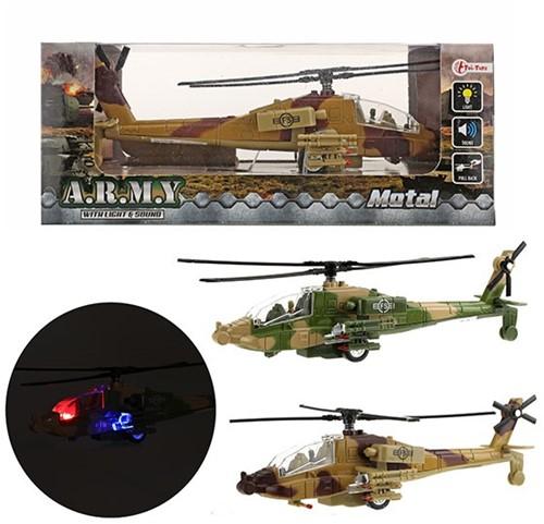 ARMY Helikopter militair pull back Licht en Geluid 2 assorti 10x22,5cm