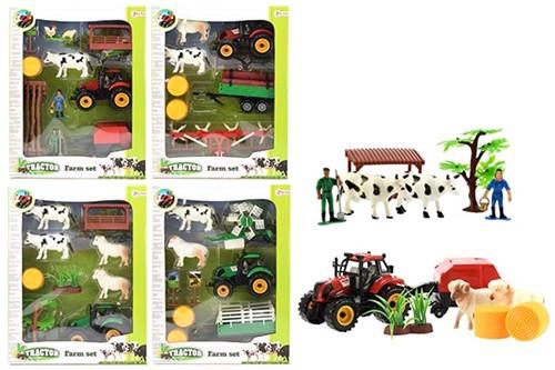 TRACTOR Boerderijset met tractor en dieren 4 assorti 25x33cm