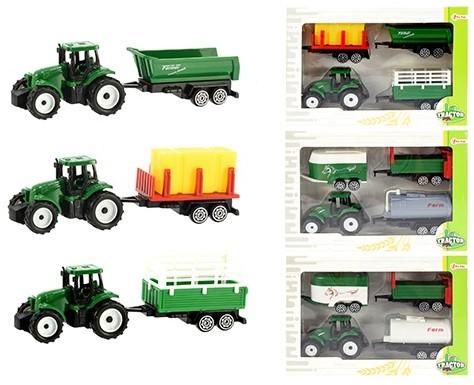 TRACTOR Tractor 7cm met 3 aanhangers 4 assorti