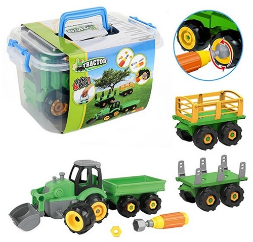 TRACTOR Tractor met aanhanger in box 18x32cm
