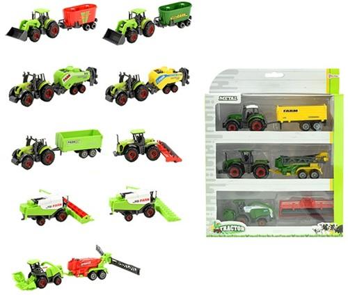 TRACTOR Set 3x Tractor met aanhanger assorti