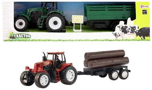 Tractor met aanhanger + frictie 3 assorti 40cm