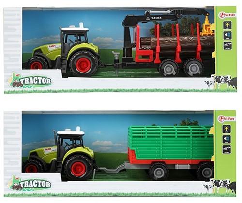 TRACTOR Tractor met aanhanger frictie + Licht en Geluid 2 assorti