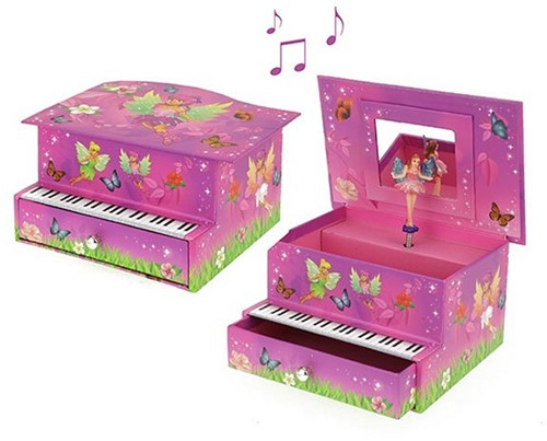 FAIRIES Sieraden muziekdoos Piano met elfje 9x17cm