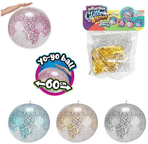 Opblaasbare Glitterballon Ø 60cm 4 assorti