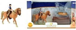 Paard met ruiter en accessoires in vensterdoos