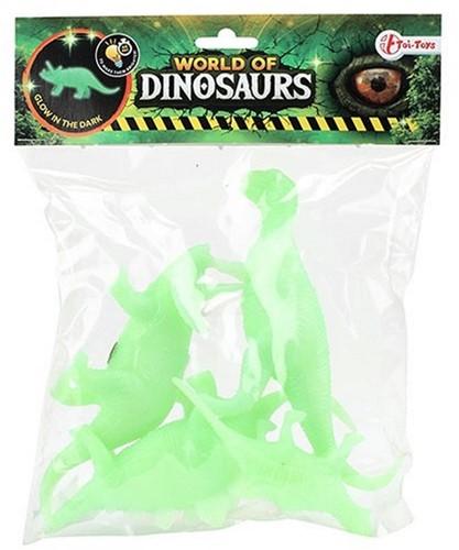 WORLD OF DINOSAURS Glow in the Dark Dino's 4 stuks 14cm