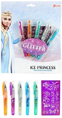 Ice Princess Tattoo gelpennen 5st. op kaart
