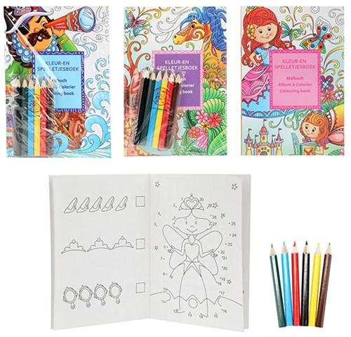 Kleur- en spelletjesboek mt 6 kleurpotloden 4 assorti 11,5x16,5cm