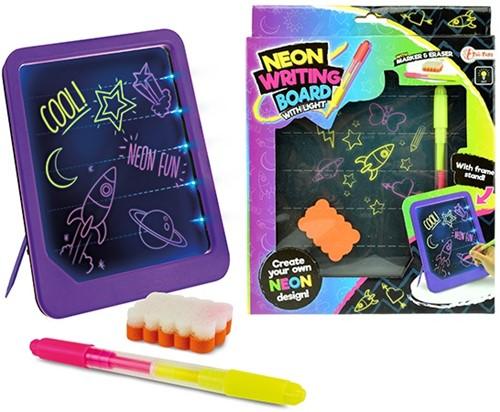Neon glow schrijfbord met stift+spons 21x26cm
