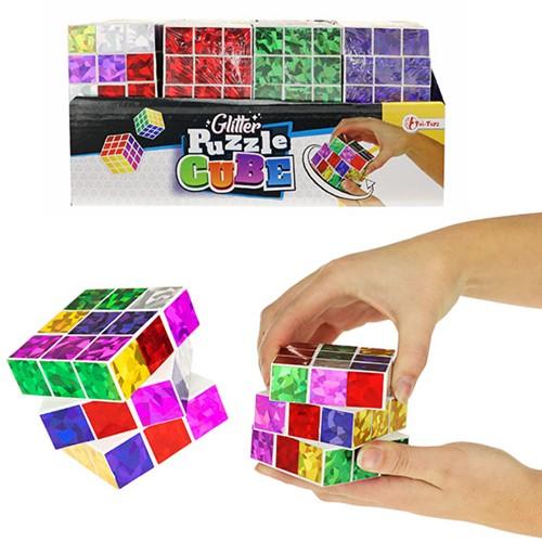 Magische kubus glitter 6 assorti display 6,5cm