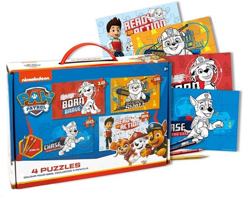 Paw Patrol Colour your own 4 Legpuzzels in koffer 20x28cm