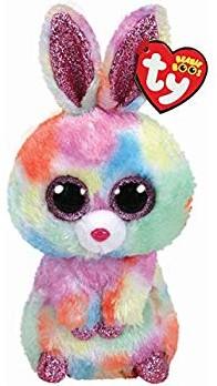 TY Pluche Konijn gekleurd Bagclip met Glitter ogen Bloomy 8cm