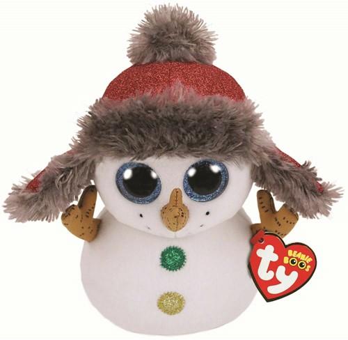 TY Pluche Sneeuwpop met glitter ogen Buttons 24cm
