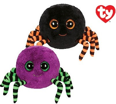 TY Pluche Halloween Spinnen met Glitter ogen Crawly 2 assorti 15cm